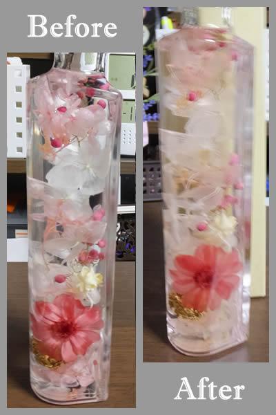 ハーバリウム検証実験中「ハート柱の完成品・ピンク」ビフォーアフター
