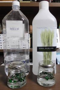 ハーバリウムのミネラルオイルとシリコンオイル